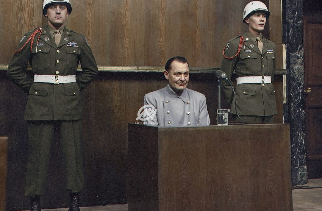 Hermann Göring sits in the dock at the Nuremberg trial, 1946
