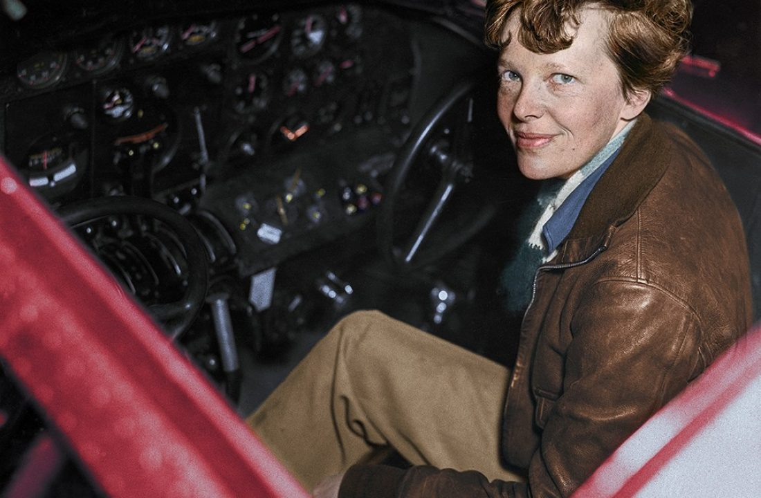 Amelia Earhart in the Cockpit of an Airplane